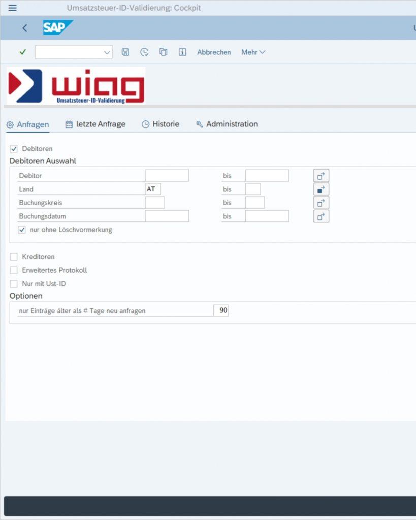Umsatzsteuer Identifikationsnummer SAP Cockpit